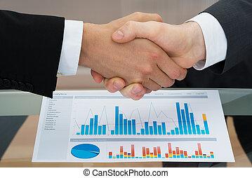 devant, graphique, secousse, businesspeople, main