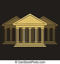 devant, grec, temple