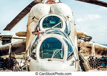 devant, hélicoptère, attaque, vue, militaire