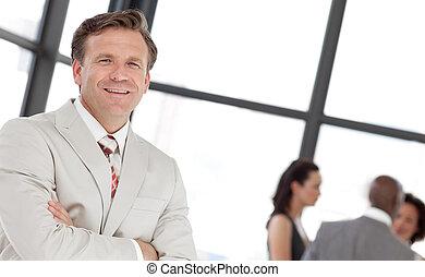 devant, homme, business, potrait, équipe