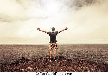 ?, devant, homme, clair, concept, gratuite, reussite, liberté, ciel, reconnaissant