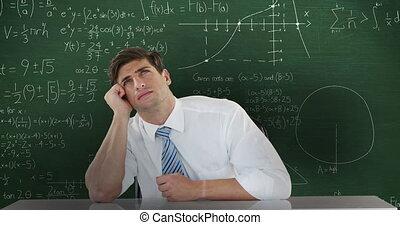 devant, homme, en mouvement, pensée, 4k, maths, calculs, tableau, séance