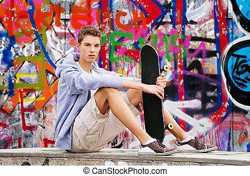 devant, homme,  graffiti, jeune,  cool-looking