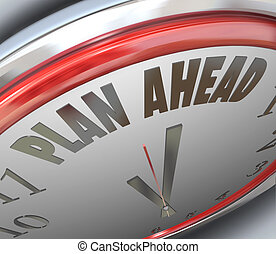 devant, horloge, stratégie, planification, plan, temps, avenir