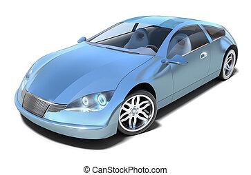 devant, hybride, sport, voiture., vue