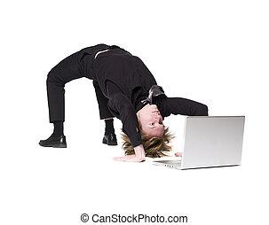 devant, informatique, homme, acrobatique