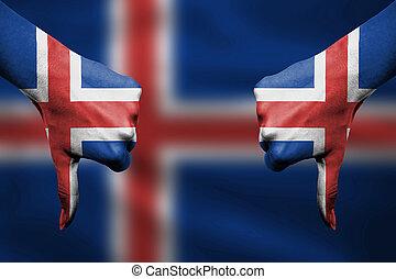 devant, islande, -, bas, échec, pouces, mains, fla, faire gestes