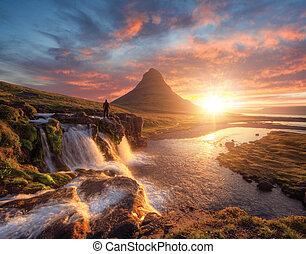 devant, islande, homme, montagne, kirkjufell