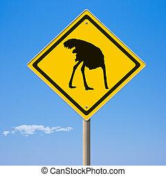 devant, jaune, autruche, signe prudence, route