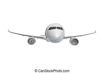 devant, jet passager, blanc, paquebot, isolé, vue, avion, arrière-plan.