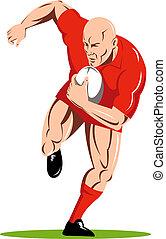 devant, joueur, course, rugby