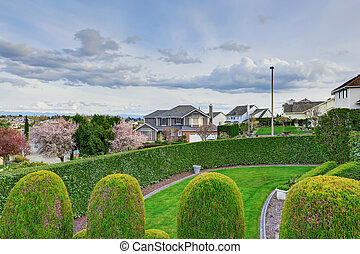 devant, landscaping, yard, idée