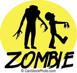 devant, lune, zombies, nuit