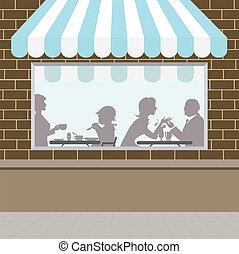 devant, magasin, café