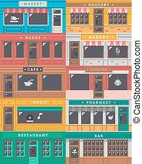 devant, magasin, façade, ensemble