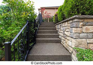 devant, maison, entrancre, porte, escalier