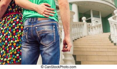 devant, maison, escalier, grand, couple