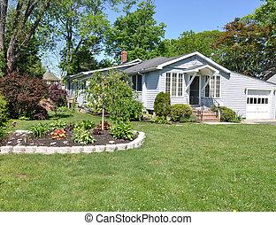 devant, maison, fleur, yard, jardin