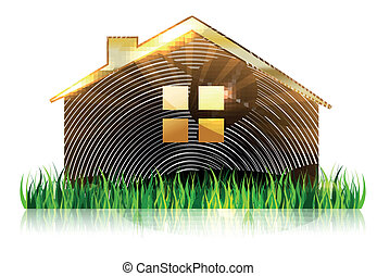 devant, maison, herbe