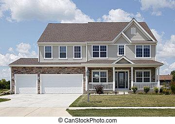devant, maison, pierre, porche