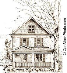 devant, maison, porche