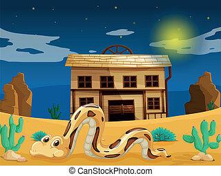 devant, maison, serpent