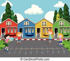 devant, maisons, coloré, jouer, enfants
