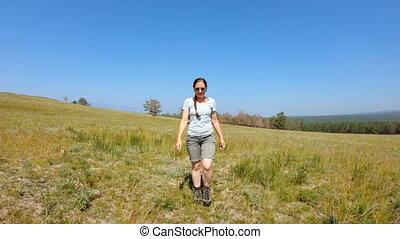 devant, marche, field., girl, vue