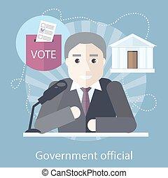 devant, microphone, officiel, gouvernement