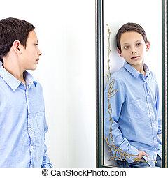devant, miroir