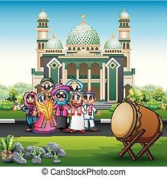 devant, mosquée musulmane, dessin animé, famille