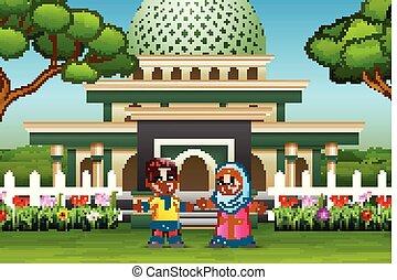 devant, mosquée musulmane, dessin animé, gosse