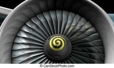devant, moteur jet, turbo, vue.