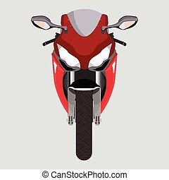 devant, motocyclette, vue