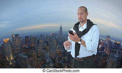 devant, new york, homme