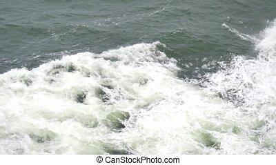 devant, niveau, mousse, océan, aller, ferry-boat, bateau, gauche, bateau, vue