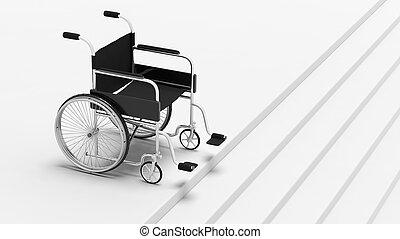 devant, noir, escaliers., incapacité, fauteuil roulant
