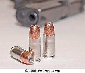 devant, noir, pistolet, balles, trois