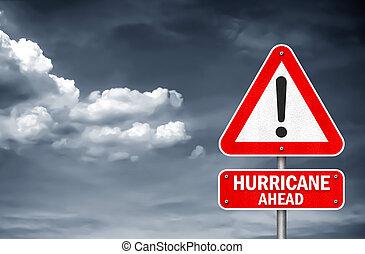 devant, ouragan, -, signe, avertissement, route