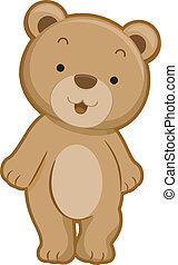 devant, ours, vue