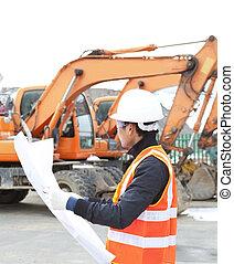 devant, ouvrier construction, route, excavateur