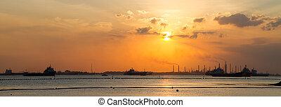 devant, pétrolier, bateaux, refinery.