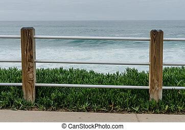 devant, pacifique, barrière, océan
