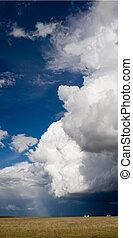 devant, panorama, orage