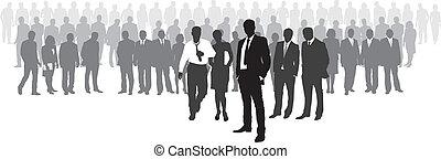 devant, patron, réseau, gens