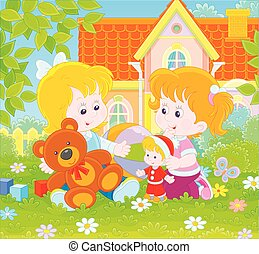 devant, petites filles, pelouse, jouer