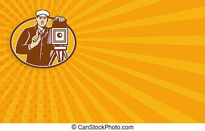 devant, photographe, appareil photo, retro, vendange