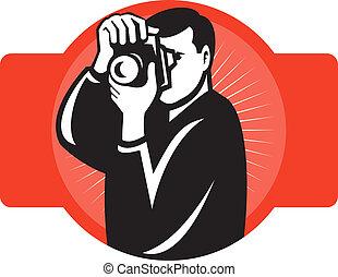 devant, photographe, viser, appareil photo, slr