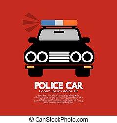 devant, police, voiture., vue