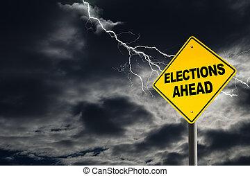 devant, politique, élections, orage
